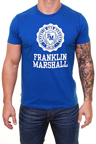 Franklin-Marshall-Mens-Stamp-Logo-T-Shirt-Blue