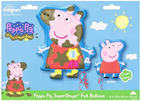 Amscan Peppa Pig 2-Sided SuperShape Foil Balloons