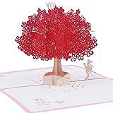 Mengger 3D Karte Hochzeitskarte Grußkarte Pop Up Kirschblüte Liebhaber Valentinstag Faltkarte Hochzeitseinladungen Hochzeitstag Romantik-Karte Einladungskarte Glückwunschkarten Geschenkkarte