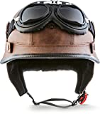 MOTO HELMETS D-33 Set de casco 'Army Snow', color gris y blanco, Casco jet de estilo aviador para motos chopper, estilo retro, estilo aviador, tallas S-XXL (55-64 cm)