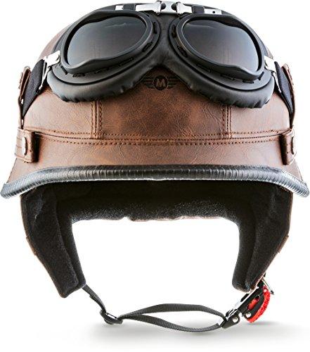 "Moto Helmets® D33-Set \""Leather Brown\"" · Brain-Cap · Halbschale Jet-Helm Motorrad-Helm Roller-Helm Scooter-Helm Bobber Mofa-Helm Chopper Retro Cruiser Vintage Pilot Biker Helmet Brille · M (57-58cm)"