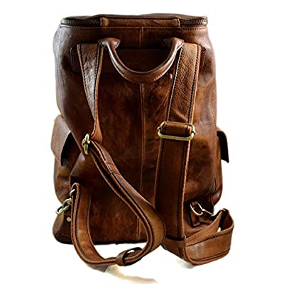 Vintage leather backpack brown genuine washed leather travel bag weekender sports bag gym bag leather shoulder ladies mens backpack - handmade-bags
