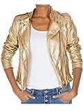 62nd Avenue Damen Bikerjacke Kunstlederjacke gold metallic Paisley 223 S / 36