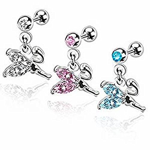 1 x Flying Petite Fairy with Pink Crystal Wings Dangle Tragus or Cartilage Piercing  Thickness : 1.2mm  Länge: 6mm  Material : Surgical (Fairy Billig Wings)