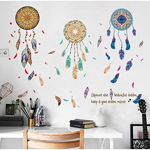 OLSR® Atrapasueños desmontable impermeable pegatina de pared Pegatinas Decorativas Adhesiva Pared Dormitorio Salón Guardería Habitación Bebés Infantiles Niños (D)