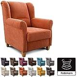 Cavadore Fernsehsessel Finja, moderner Wohnzimmersessel mit Federkern im Landhausdesign, passender Hocker erhältlich, Maße: 87 x 102 x 96 cm (BxHxT), Farbe: Orange (terra)