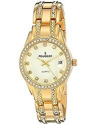 Peugeot para mujer 7097 G de cristal reloj dorado-tono