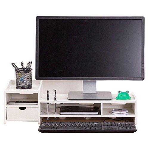 Einstellbare Desktop-hölzerne Computer-Monitor Stand Riser File Storage Organizer mit Schublade Pen Slots File Holder für Home Office (Schublade-storage-office)