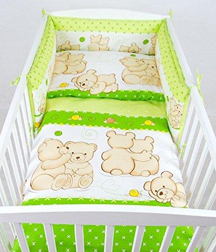 BABYLUX Kinderbettwäsche 2 Tlg. 90 x 120cm Bettwäsche Bettset Babybettwäsche (62. Teddybären Grün)