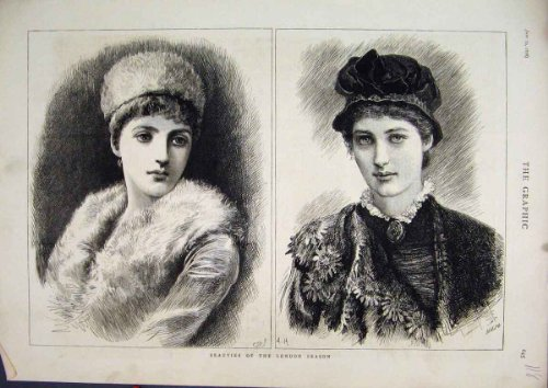Una Stampa di 1878 di Bellezze di Londra di Stagione del Ritratto Cappelli delle (Cappelli Vittoriani Per Le Donne)