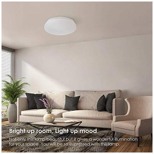 Plafoniera led soffitto moderna Plafoniera bagno TECKIN 24W Lampadario soggiorno Lampadario per camera da letto o soggiorno a risparmio energetico cameretta bambini 2000 LM, 4500K,Ø33cm