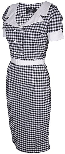 Küstenluder DULCIE Pepita GINGHAM 50s Retro PENCIL DRESS Kleid Rockabilly -
