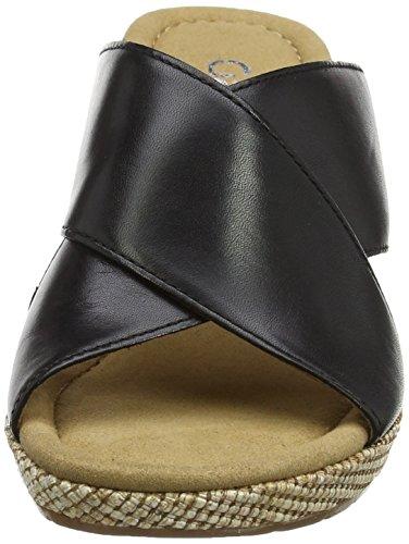 Gabor Comfort, Sandales Bout Ouvert Femme Noir (schwarz Bast)