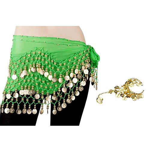 Green Gypsy Kostüm - BellyLady Goldmünzen Bauchtanz Hip Schal Tanzgürtel Gypsy Armband Grün
