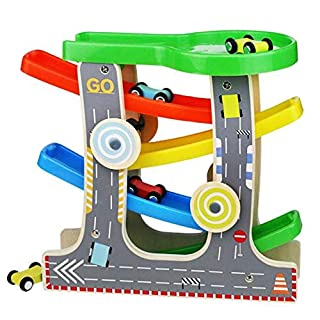 Ako Click Clack Wooden Racetrack Toy Zig Zag Car Slider Car Park Playset with 4 Race Cars Wooden Toy for 3 Years Old