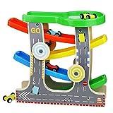 Kugelbahn Auto-Rennbahn Autorennbahn Holz Fahrzeugen Holzspielzeug Auto Park spielsets für Kinder ab 3 Jahr (mit 4 Autos)