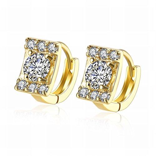 MOMO Kleine und Exquisite Mode K Gold Quadrat Diamant Ohrringe / Gold Ãœberzogen / Schmuck / Anti-allergie / Silber Blinkend / Diamanten / Zirkonia Gemacht,Als Show (Quadrat Diamant-ohrringe)