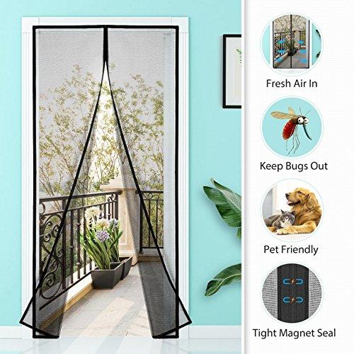 Homitt Magnetischer Türvorhang mit Glasfaser Meterial Insektenschutz, Klebemontage Ohne Bohren, Fliegengitter Magnetvorhang für Türen 120 x 240cm