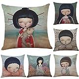BOPOMO Zierkissen Set von 6 Hand-Painted Japanische Puppen Muster Bettwäsche Kissenbezug Sofa Home Decor Kissen Coverthrow Kissenbezug (18 * 18 cm), Drucken