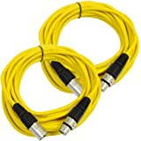 Seismic Audio Pair Of Yellow 25' XLR Male To Female Microphone Patch Cables Yellow - SAXLX-25Yellow-2Pack