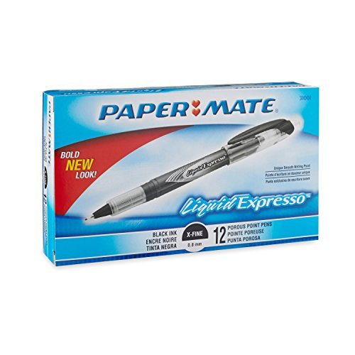 papermate-liquid-flair-porous-point-stick-pens-black-ink-extra-fine-point-dozen-dz-pap31001bh-by-pap