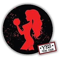 Yes You Can Girl Fitness Sport Label Kunst Dekor Aufkleber 12 x 12 cm
