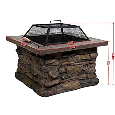 Fds 29 Garden Fire Pit Barbecue Square Stove Patio Heater Table from FDS
