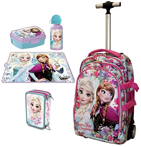 Frozen never set zaino trolley scuola astuccio triplo set colazione ragazza bambina