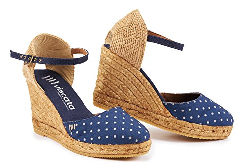 VISCATA Satuna Ankle-Strap, Closed Toe, Classic Espadrilles with 3-inch Heel Made in Spain PolkaNavy