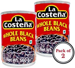 La Costena Whole Black Beans Haricots Noirs Entiers (560ml) - Pack of 2