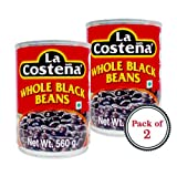 #1: La Costena Whole Black Beans Haricots Noirs Entiers (560ml) - Pack of 2