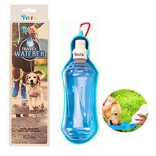 Valentoria Pet Water Bottle with Carabiner Travel Water Drink Feeder Dispenser Bottle Outdoor for Dog Cat (Blue-500ml)
