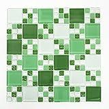 Mosaikfliesen Fliesen Mosaik Küche Bad WC Wohnbereich Fliesenspiegel Glas grün Quadrat Mix Bordüre 8mm #085