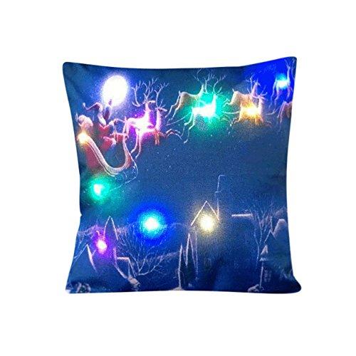ubabamama New Fashion Weihnachten LED-Licht Leinen Kissenbezüge Unique Home Decor Sofa throwpillow Kissenbezug g