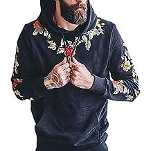 7461ec2d5c538e Longra Herren Rose Stickerei Kapuzenpullover Hoodie Pullover Mit Kapuze  Sport Lose Langarm Kapuzen-Sweatshirt Yoga