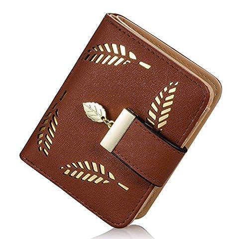 Portemonnaie kurzer Geldbörse Damen IHRKleid® Brieftasche Süß Katze Mädchen Handtasche (Braun)