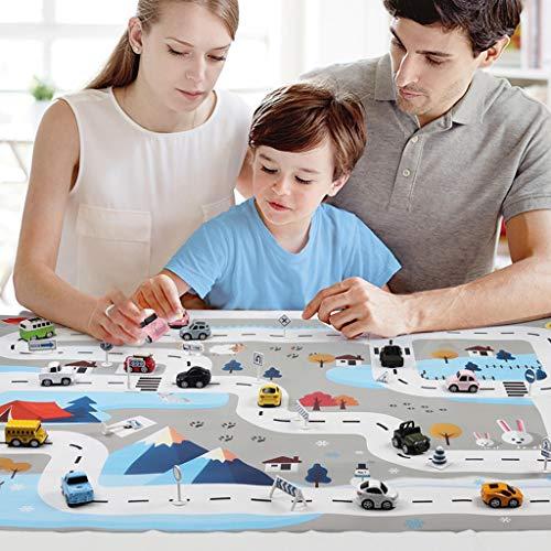 HSKB Kinder Spielmatte, Faltbarer Truck Verkehrszeichen Straßenverkehr Kindermatte Bunt Teppichmatte Kinder Puzzlematte Spielmatte Spielstraße für Auto (130 x 100 cm)