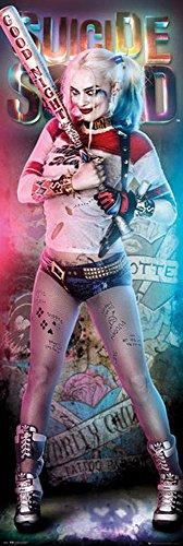 empireposter Suicide Squad - Harley Quinn - Tür-Poster Door Poster - XXL-Format Film Kino TV Action Größe 53x158 cm + 2 St Posterleisten Holz 61 cm