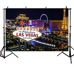 Mehofoto Welcome to Las Vegas Studio Photo Booth Fond Nuit Ville Bannière Toiles de Fond pour la Photographie 2,1x 1,5m