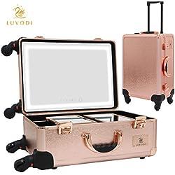 LUVODI Maletín Maquillaje Profesional Estuche de Cosméticos con ruedas Multiuso Maleta para Maquillaje con LED espejo