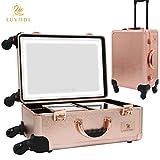 LUVODI®Kosmetikkoffer professionelle Make up Koffer mit riesigem kosmetikspiegel mit LED
