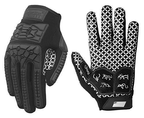 Seibertron Lineman/Linebacker Handschuhe 2.0 Padded Palm American Football Receiver Gloves, Flexibler TPR-Aufprallschutz Back of Hand Handschuhe Erwachsener Sizes Black S