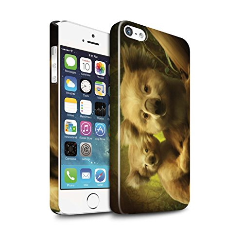 Officiel Elena Dudina Coque / Clipser Brillant Etui pour Apple iPhone 5/5S / Le Calin/Chiot/Chien Design / Les Animaux Collection Koalas/Escalade d'Arbres