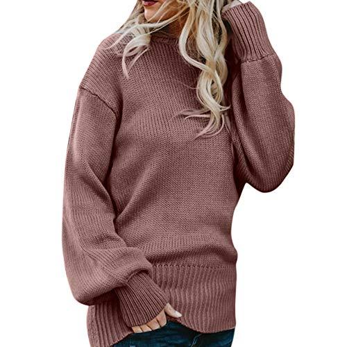 ESAILQ Damen Gestricktes tiefes, langärmeliges Wrap-Shirt mit vorderem, losen Pullover(Large,Rot) (Wrap Doppel Damen)