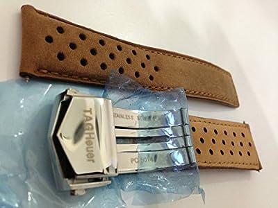 22/20mm reloj correas de cuero Camel Color estilo de puntos con cierre para que se ajuste a TAG Heuer