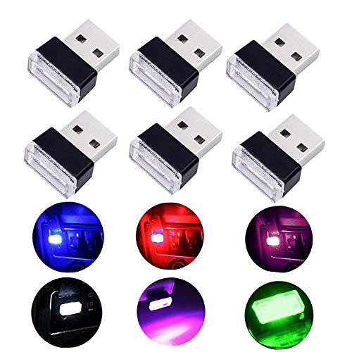 Auto USB Beleuchtung - WENTS 6PCS Auto Innenbeleuchtung Atmosphäre Licht Mini Wireless USB Universal LED Licht - Mehrere Farben -