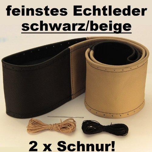 Lenkradbezug schwarz beige echt Leder 37-39 cm zum Schnüren Lenkrad Schoner