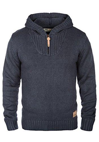!Solid Penn Herren Winter Pullover Strickpullover Kapuzenpullover Grobstrick Pullover mit Kapuze und Reißverschluss Am Kragen, Größe:M, Farbe:Insignia Blue Melange (8991)