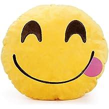 Emoticones, Cojín de Emoji Adorable Suave y Cómodo Decoración Sofá Juguete de Peluche Mono Divertido 32cm