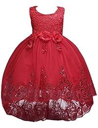 Vestido de Fiesta Niña Flor Encaje Lentejuelas para Boda Fiesta Ceremonia